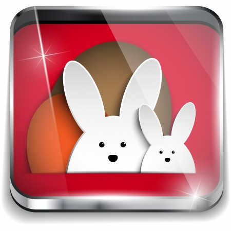 Vector - Happy Easter Glossy Application Button Vector