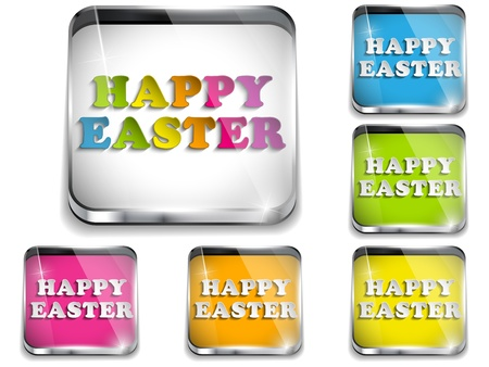application button: Vector - Happy Easter Glossy Application Button