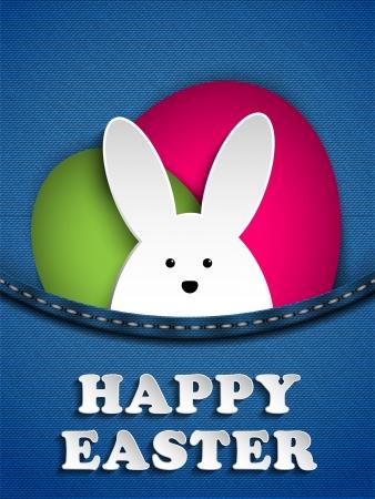 벡터 - 청바지 주머니에서 행복한 부활절 토끼 토끼 일러스트