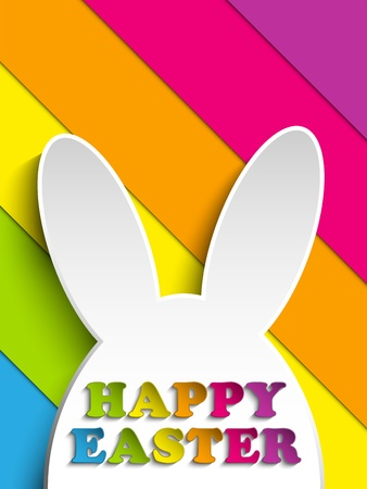 rabbit ears: Vector - Happy Easter Rabbit Bunny on Rainbow Background Illustration
