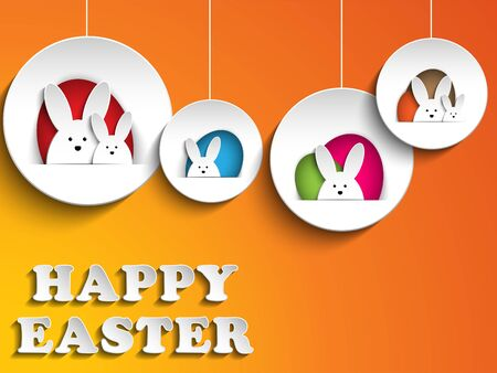 rabbit ears: Vector - Happy Easter Rabbit Bunny on Orange Background Illustration