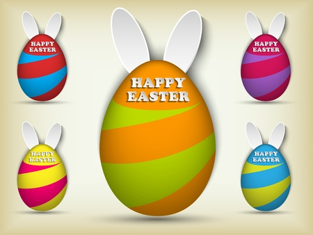 Vector - Happy Easter Rabbit Bunny Easter Egg Set Vector