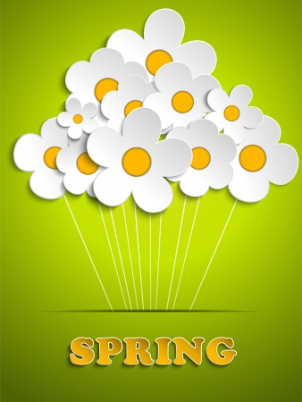 Vector - Beautiful Spring White Flowers Background  Illustration