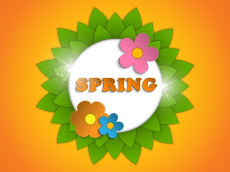Vector - Beautiful Spring Flowers Orange Background  Vector