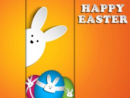 Vector - Happy Easter Rabbit Bunny on Orange Background Vector