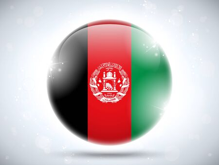 afghanistan: Vector - Afghanistan Flag Glossy Button Illustration