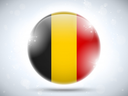 belgien: Vector - Belgium Flag Glossy Button Illustration