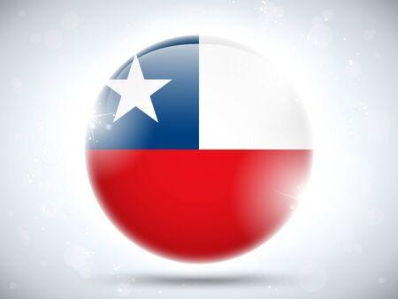 bandera de chile: Vector - Bot�n de la bandera de Chile Glossy
