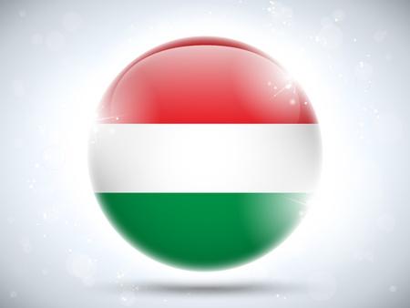 Vector - Hungary Flag Glossy Button Vector