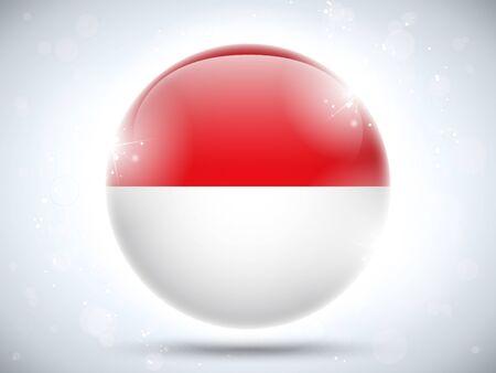 Vector - Monaco Flag Glossy Button Vector