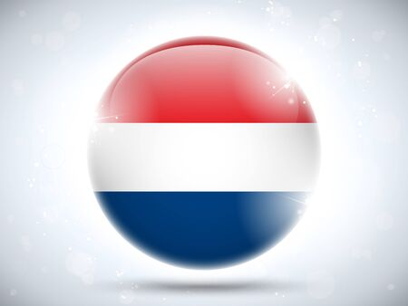 Vector - Netherlands Flag Glossy Button Vector