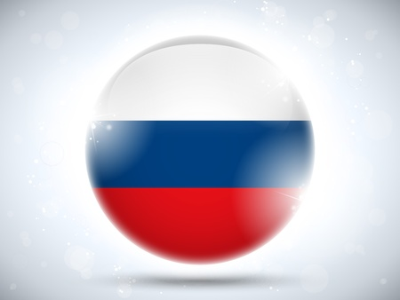 flag of russia: Vector - Button Flag Russia Glossy