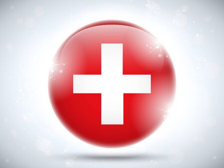 swiss insignia: Vector - Switzerland Flag Glossy Button