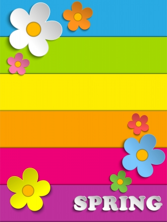rainbow background: Vector - Beautiful Spring Flowers Rainbow Background