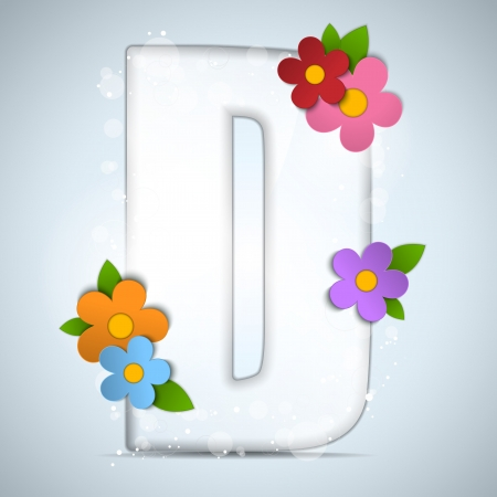 Vector - Alphabet Glass Spring with Flowers Vector