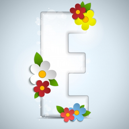 Alphabet Glass Spring with Flowers Vector