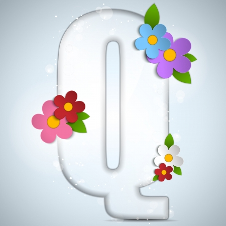 typeset: Vector - Alphabet Glass Spring with Flowers Illustration