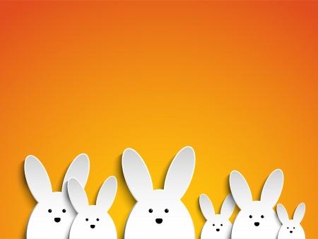 벡터 - 오렌지 배경에 행복 한 부활절 토끼 토끼 일러스트