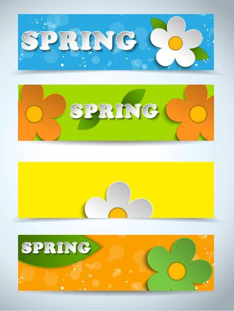 Vector - Beautiful Spring Flowers Set of Banners Vector