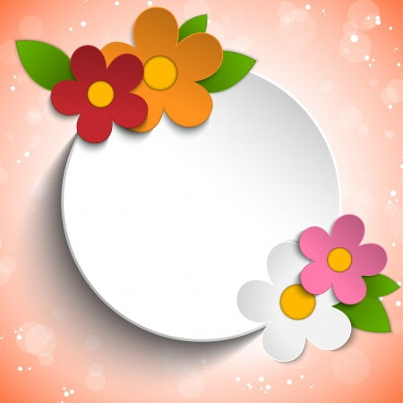 Vector - Beautiful Spring Flowers Red Background  Vector