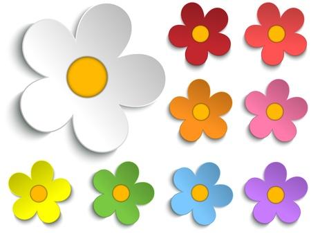 rosas naranjas: Hermosa colección de las flores de primavera Conjunto de 9 Vectores