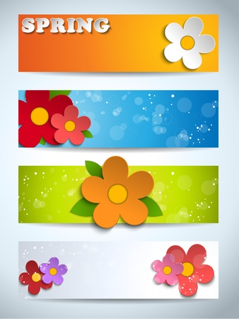 Beautiful Spring Flowers Set of Banners Vector