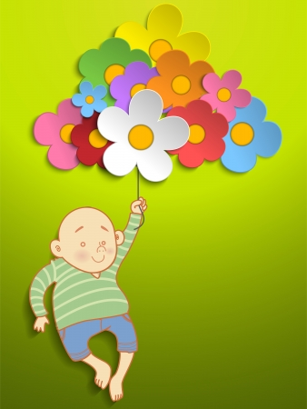 Boy Holding Beautiful Spring Colorful Flowers Vector