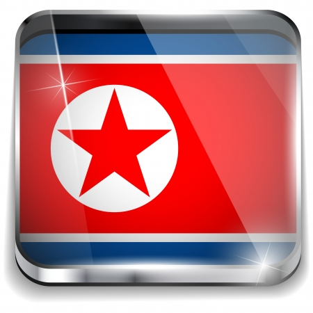 North Korea Flag Smartphone Application Square Buttons Vector
