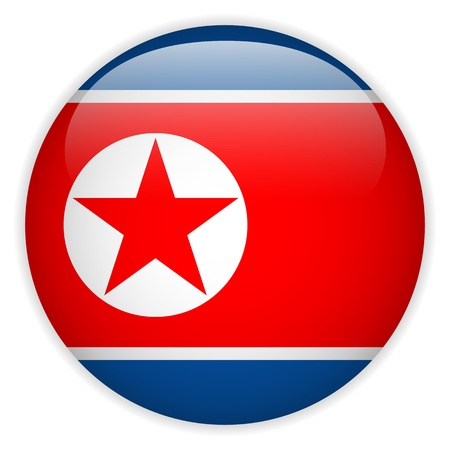 North Korea Flag Glossy Button Stock Vector - 18939964