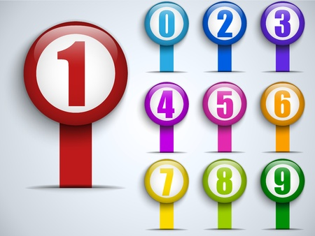 number icon: Set of Colorful Frames with Numbers