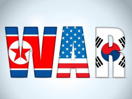 North Korea, USA and South Korea War Stock Vector - 18939996