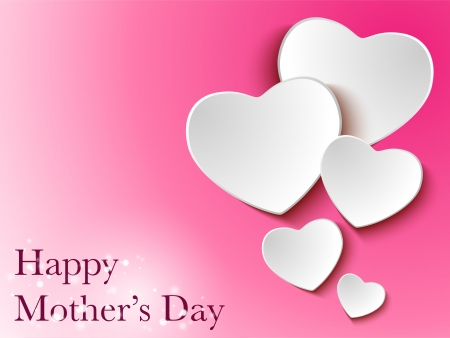 Happy Mother Day Heart Background Vector