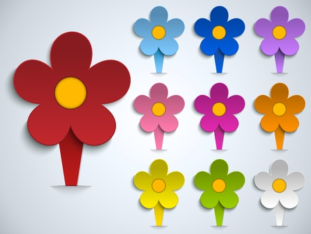 paper tags: Flower Spring Pin Sticker Icon