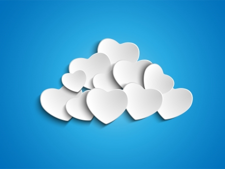 white textured paper:  Valentine Day Heart Clouds in the Sky Illustration