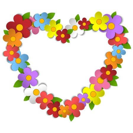 벡터 - 꽃 하트 꽃다발 봄 배경 일러스트