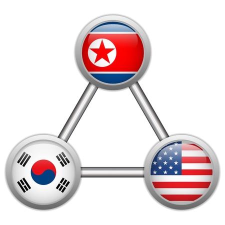 north korea: Vector - North Korea, USA and South Korea War Illustration