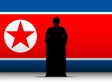 North Korea War Speech Tribune Silhouette with Flag Background Stock Vector - 19151418