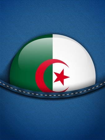 Vector - Algeria Flag Button in Jeans Pocket Vector