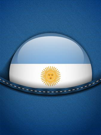 Vector - Argentina Flag Button in Jeans Pocket Stock Vector - 19350899