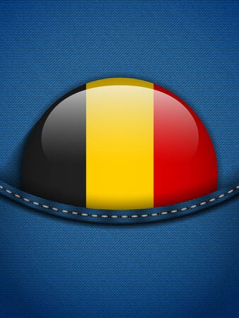 Vector - Belgium Flag Button in Jeans Pocket Vector