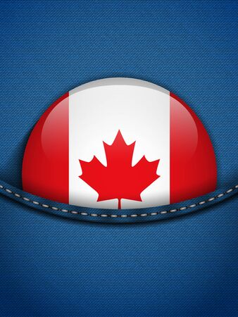 Vector - Canada Flag Button in Jeans Pocket Vector
