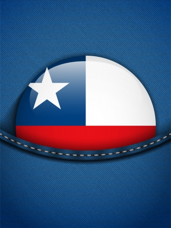 Vector - Chile Flag Button in Jeans Pocket Vector