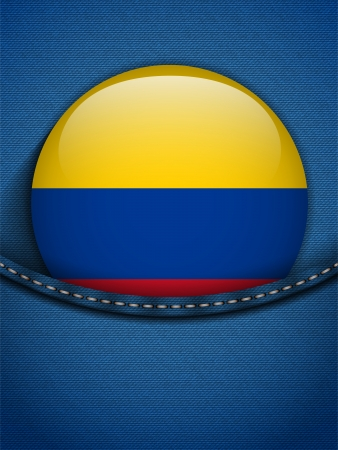 Vector - Colombia Flag Button in Jeans Pocket Vector