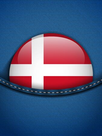Vector - Denmark Flag Button in Jeans Pocket Vector