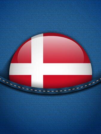 Vector - Denmark Flag Button in Jeans Pocket Stock Vector - 19350891