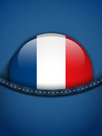 Vector - France Flag Button in Jeans Pocket Vector