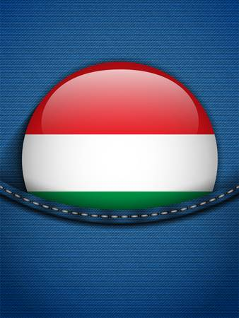 Vector - Hungary Flag Button in Jeans Pocket Vector