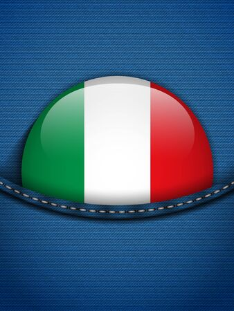 Vector - Italy Flag Button in Jeans Pocket Stock Vector - 19350872