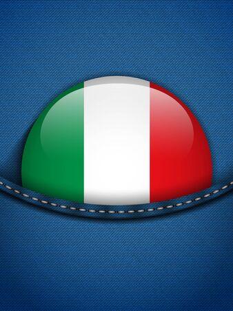 bandiera italiana: Vettore - Italia Bandiera Button nella tasca dei jeans Vettoriali