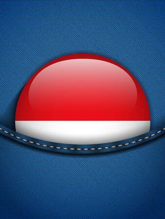 monegasque: Vector - Monaco Flag Button in Jeans Pocket